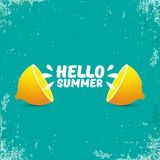 Vector Hello Summer Beach Party Flyer Design template with fresh lemon isolated on azure or torquoise background. Hello. Vector Hello Summer Beach Party Flyer Stock Image