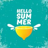 Vector Hello Summer Beach Party Flyer Design template with fresh lemon isolated on azure or torquoise background. Hello. Vector Hello Summer Beach Party Flyer Royalty Free Stock Images