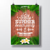 Vector Hello Summer Beach Party Flyer illustration with tropical plants and flowers. Typographic design on vintage wood background. Eps10 illustration Royalty Free Stock Image
