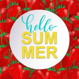 Vector Hello Summer cute card with sweet strawberries. royalty free illustration