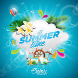 Vector Hello Summer Holiday typographic illustration with tropical plants, flower and hot air balloon on blue background. Stock Photo