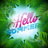 Vector Hello Summer Holiday typographic illustration with tropical plants and sunlight on light blue background. Stock Image