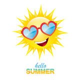 Vector hello summer label with smiling shiny sun Stock Photo