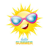 Vector hello summer label with smiling shiny sun Stock Images