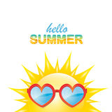 Vector hello summer label with smiling shiny sun Stock Image