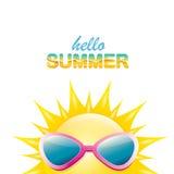Vector hello summer label with smiling shiny sun Stock Photos
