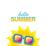 Vector hello summer label with smiling shiny sun Royalty Free Stock Photography
