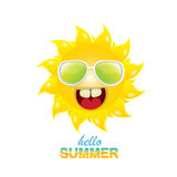 Vector hello summer label with smiling shiny sun Royalty Free Stock Image