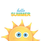 Vector hello summer label with smiling shiny sun Royalty Free Stock Photos