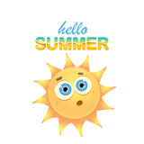 Vector hello summer label with smiling shiny sun Royalty Free Stock Images