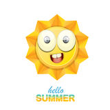 Vector hello summer label with smiling shiny sun Stock Photography