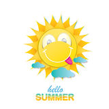 Vector hello summer label with smiling shiny sun Royalty Free Stock Photo