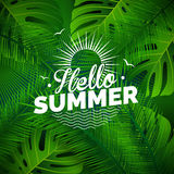 Vector Hello Summer typographic illustration with tropical plants on green background. Stock Photos