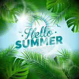 Vector Hello Summer typographic illustration with tropical plants on light blue background. Stock Photos