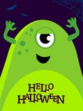 Vector helloween illustration with funny monster. Vector helloween illustration with funny green monster. Cute alien on banner Stock Image