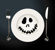 Vector of Helloween Tabel Satting. Vector of Halloween Table Setting. Vampire bat concept Stock Images