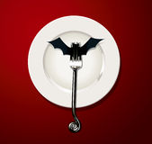 Vector of Helloween Tabel Satting. Vector of Halloween Table Setting. Vampire bat concept Stock Photo