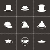 Vector helmet and hat icon set Stock Photos