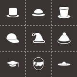 Vector helmet and hat icon set Stock Photos