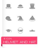 Vector helmet and hat icon set Stock Photo