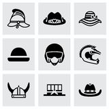 Vector Helmet and hat icon set Royalty Free Stock Photo