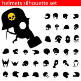 Vector helmet silhouette set Stock Images