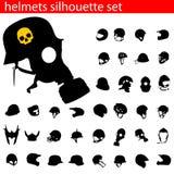 Vector helmet silhouette set Stock Images