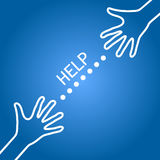 Vector help line concept. Illustration, two hands meeting each other, with help text in between, as help line and social support commercial concept Stock Photos