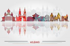 Vector Helsinki City background. With cityscape silhouette Design Stock Photography