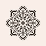 Vector henna ethnic mandala, boho tattoo design in doodle style. Royalty Free Stock Images