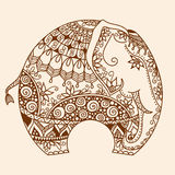 Vector Henna mehndi decorated Indian Elephant Royalty Free Stock Image