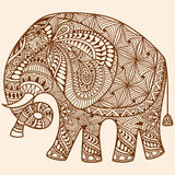 Vector Henna mehndi decorated Indian Elephant Stock Images