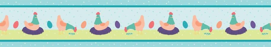Vector Hens Farm Scene Seamless Border stock illustration