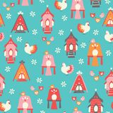 Vector hens and houses seamless repeat pattern vector illustration