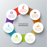 Vector heptagon with circles for infographic. Royalty Free Stock Photos