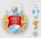 Vector heraldic coat of arms elements set. Royalty Free Stock Photography