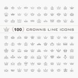 Vector heraldic elements design. A big set of black crowns Royalty Free Stock Photos