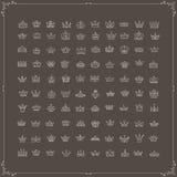 Vector heraldic elements design. Set of beige line crowns Stock Image