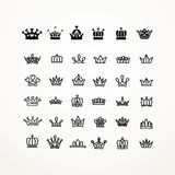 Vector heraldic elements design. Set of black line crowns. Royalty Free Stock Photos