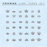 Vector heraldic elements design. Set of black line crowns. Stock Images