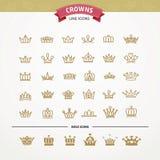 Vector heraldic elements design. Set of golden crowns. Stock Photography
