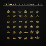 Vector heraldic elements design. Set of golden line crowns. Stock Photography