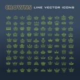 Vector heraldic elements design. Set of green line crowns. Stock Images