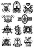 Vector heraldic icons of nautical marine seafarer. Marine and nautical heraldic icons set. Vector isolated symbols and badges of seafarer ship helm and anchor Stock Photography