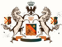 Vector heraldic illustration in vintage style with shield, crown Stock Photography