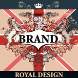 Vector heraldic illustration in vintage style with shield, crown. Heraldic elegant design with British flag, lions, ornament and frame, royal design. Ideal for Stock Photos