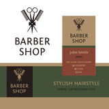 Vector heraldic logo for a hairdressing salon. Business card and banner. Template for corporate style barbershop. Status and elegance Royalty Free Stock Images