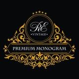 Gold decorative frame. Monogram design elements, graceful template. Calligraphic elegant line art logo design. vector illustration