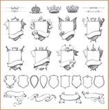 Vector heraldische elementeninzameling en Wapenschildmalplaatje Stock Foto