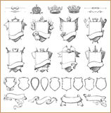 Vector heraldische Elementsammlung und Wappen Schablone Stockfoto
